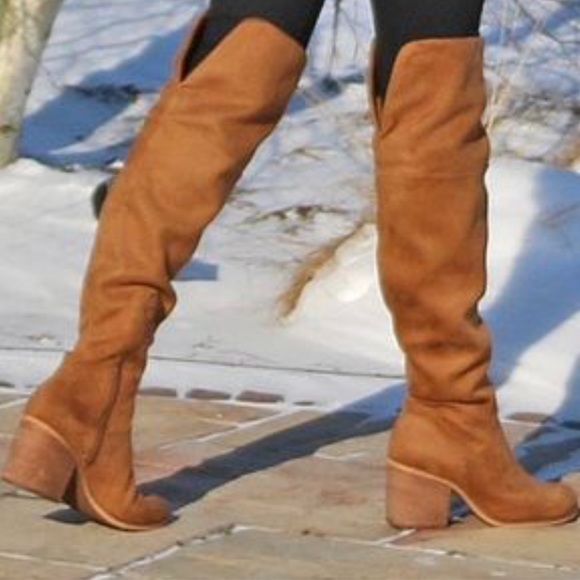 Market Camel Suede Over The Knee Boot